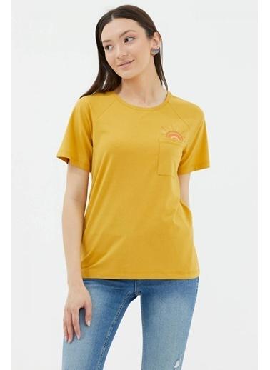 Sementa Cebi Nakış Detaylı Tshirt - Hardal Hardal